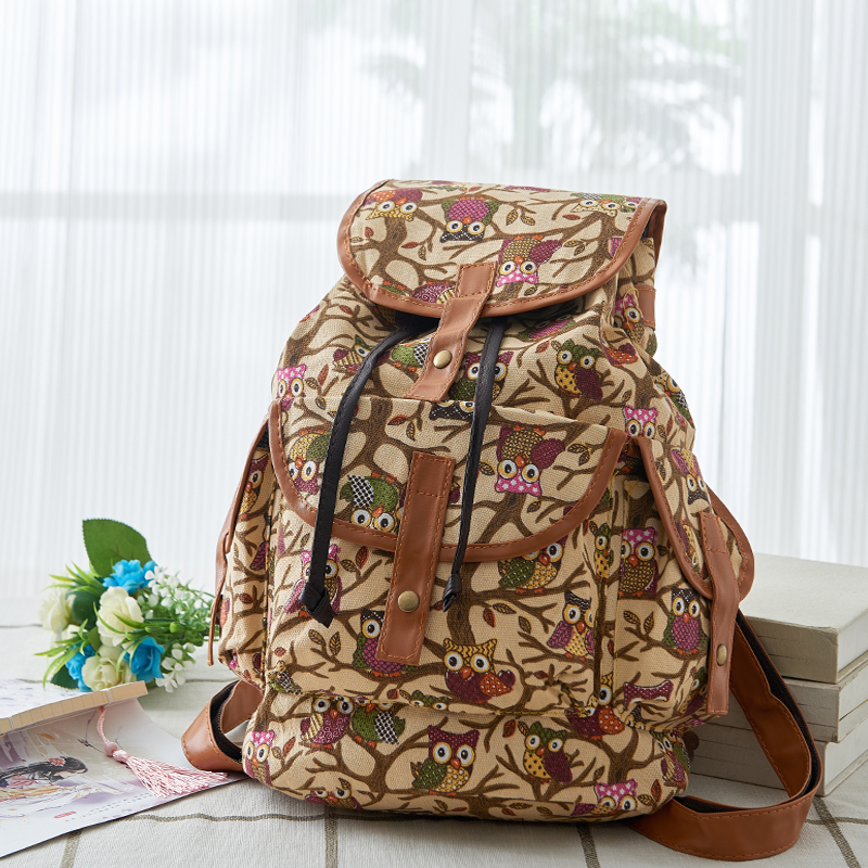 More Colors Classic Owl Pattern Women Backpack Vintage Lovers Travel Backpack Casual Canvas Backpack
