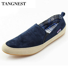 tangnest men canvas shoes 2017 spring male slip-on loafers men comfortable flats casual shoes man for summer size 39-44 xmf291