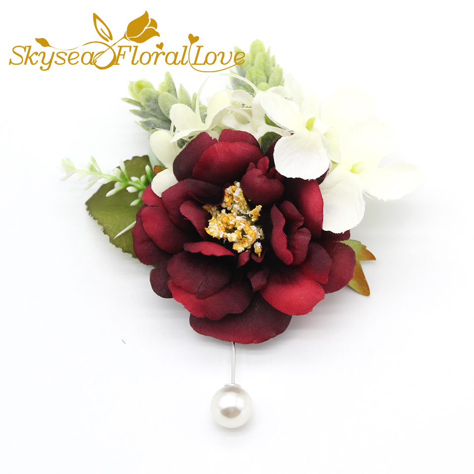 2018 New designed wedding corsages and boutonnieres rose hydrangea ...