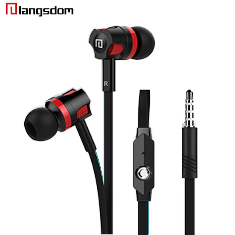 Langsdom JM26 stereo Earphones 3.5MM in-ear earbuds headsets Super Bass sound Earphone with flat cable with mic for IPhone HTC цена и фото