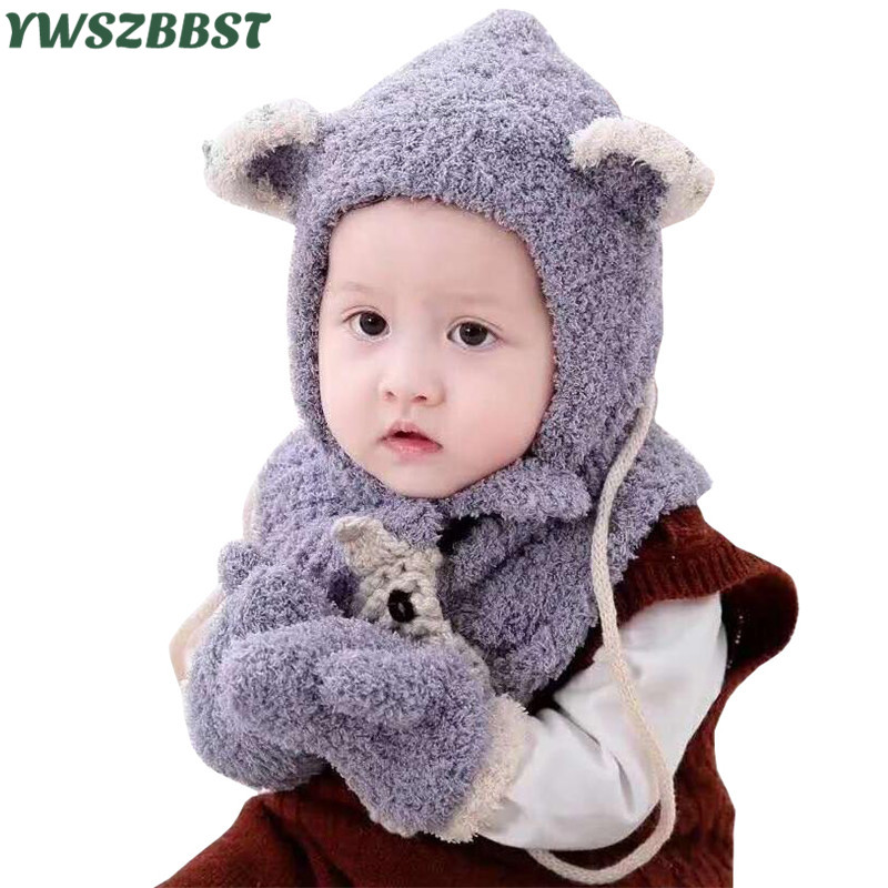 Fashion Children Hat Scarf Gloves Set Autumn Winter Warm Hat Cartoon Baby Boys Girls Cap Scarf Glove Baby Hat Kids Beanies Caps