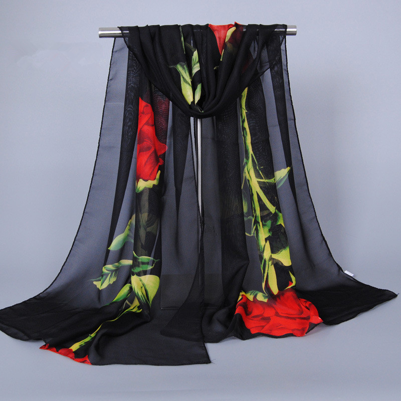 Scarf Luxury Brand Spring 2018 New Fashion Chiffon Silk Hijab Print Thin Sjaals Zomer Long Scarves Foulard Women Shawls