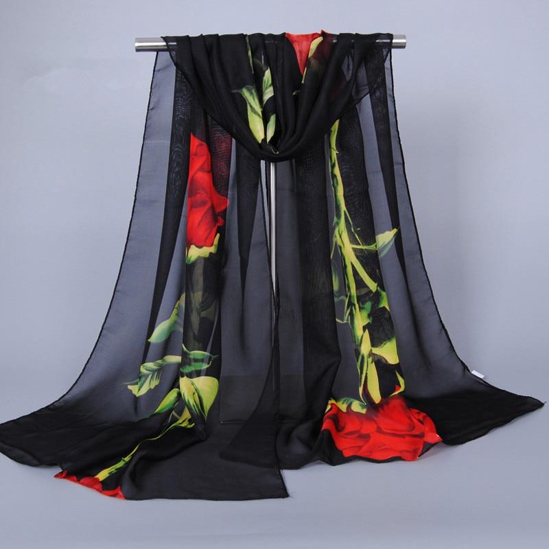 Scarf Luxury Brand Spring 2018 New Fashion Chiffon Silk Hijab Print Thin Sjaals Zomer Long Scarves Foulard Women Shawls