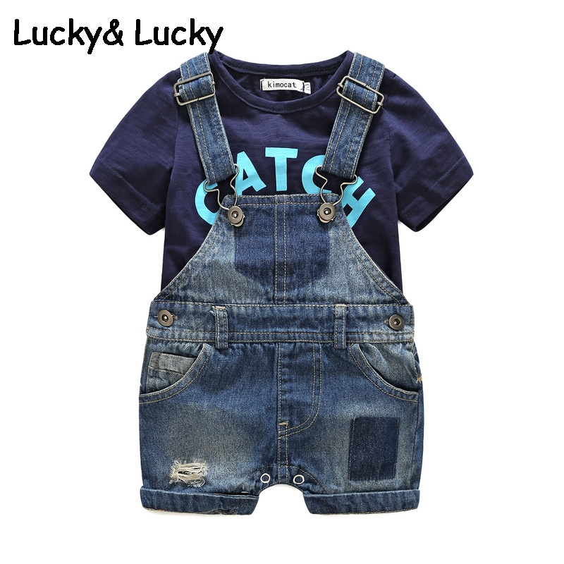 Image 3 - Bebes newborn clothes cotton letter printed t shirt with demin overalls baby boys clothes summer children clothing-in Clothing Sets from Mother & Kids