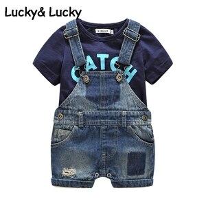 Image 3 - Bebes 신생아 옷 목화 편지 인쇄 된 t 셔츠와 demin overalls 아기 소년 의류 여름 어린이 의류