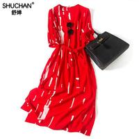Shuchan Red Summer Dress Natural Silk Geometric Sashes Half Sleeve V neck Womens 2019 Summer Dress High Quality A0977