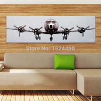 Free Shipping 100% Hand-Painted Gray Plane Landing Modern Oil Painting On Canvas Wall Art Picture Living Room Home Decor 30X90