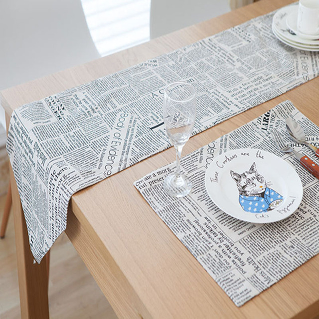 European Style British Table Runner Nordic Retro Cotton/linen Table Runners  Coffee Black English Newspaper