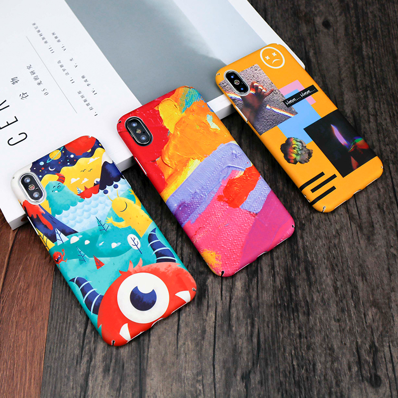For iphone 6 Case Abstract Painted cartoon Phone Case For Apple iphone 7 Case Colorful art Pattern pc cover For iphone X Cases