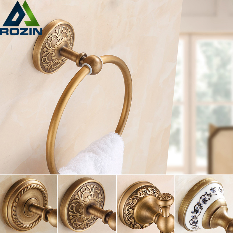 Free Shipping Euro Styel Art Carved Bathroom Towel Ring Antique Brass Wall Mounted Round Towel Rack Hanger free shipping antique brass wall mounted artistic carved toilet cup