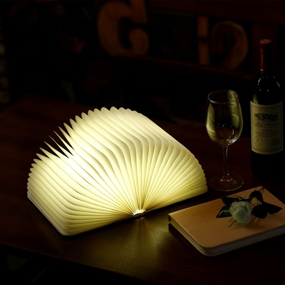 Book Light USB Rechargeable LED Magnetic Wooden Folding Book Lamp Night Light Desk Lamp For Home Decor Drop Ship,Creative Gift
