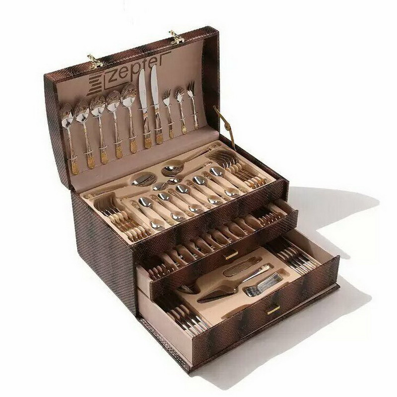 86pcs Stainless Steel Flatware Sets Gold Plated Cutlery