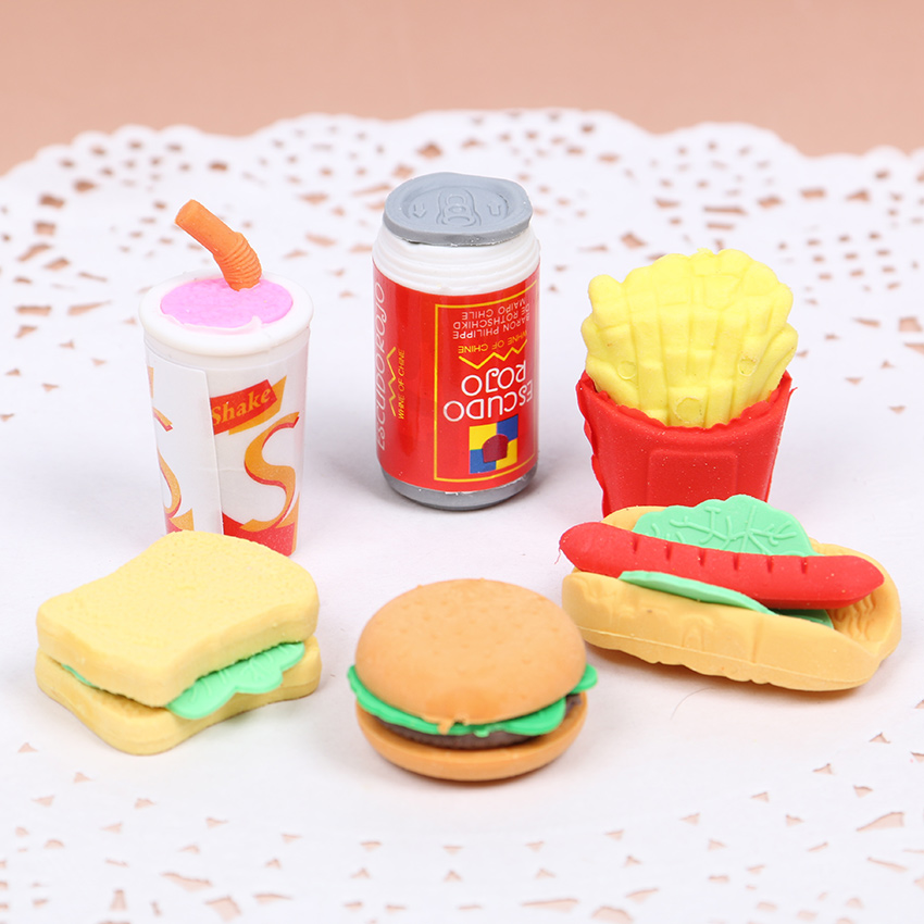 6 PCS/Set Cute Kawaii Hamburger Food Drink Cola Rubber Eraser Set School Office Erase Supplies Kids Gifts