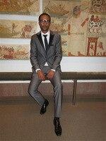 שטיח האדום של גברים בסגנון מזדמן שיא דש טוקסידו Custom Made אפור בהיר חליפות חתונה גברים לנשף ללבוש 2017 (Jacket + מכנסיים + עניבה)