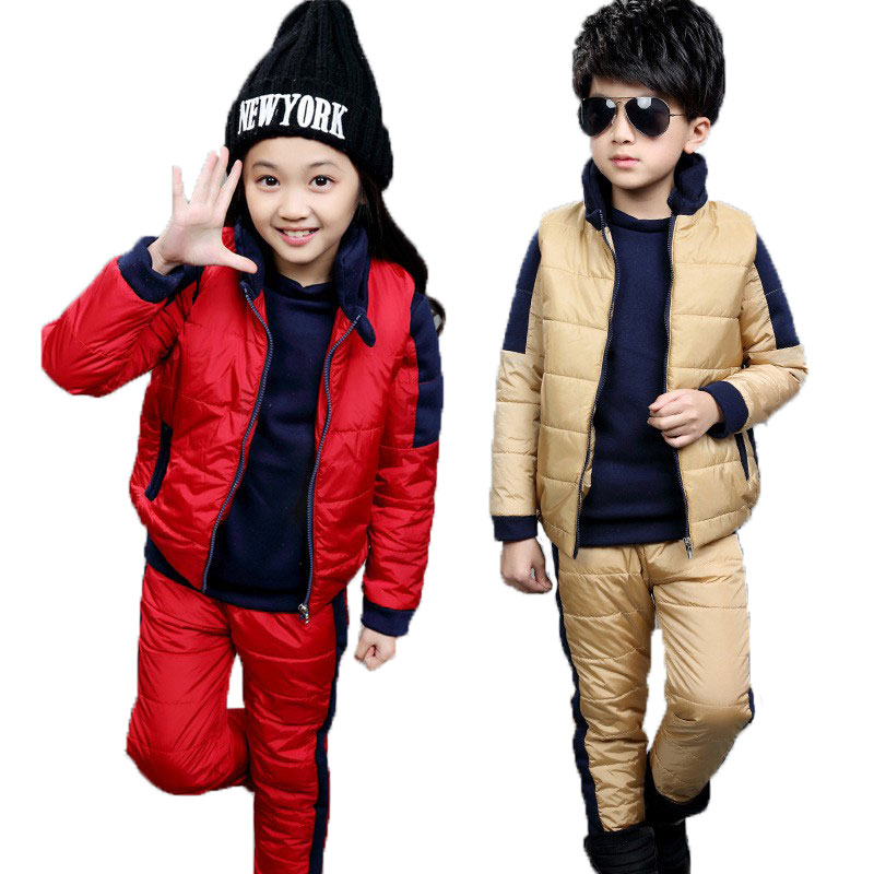 2016New Boys And Girls Fight Color Winter Collection  Children'sCasualFashion Plus Velvet Thicker Sweater Three-Piece Suit Tide 2016 winter new soft bottom solid color baby shoes for little boys and girls plus velvet warm baby toddler shoes free shipping
