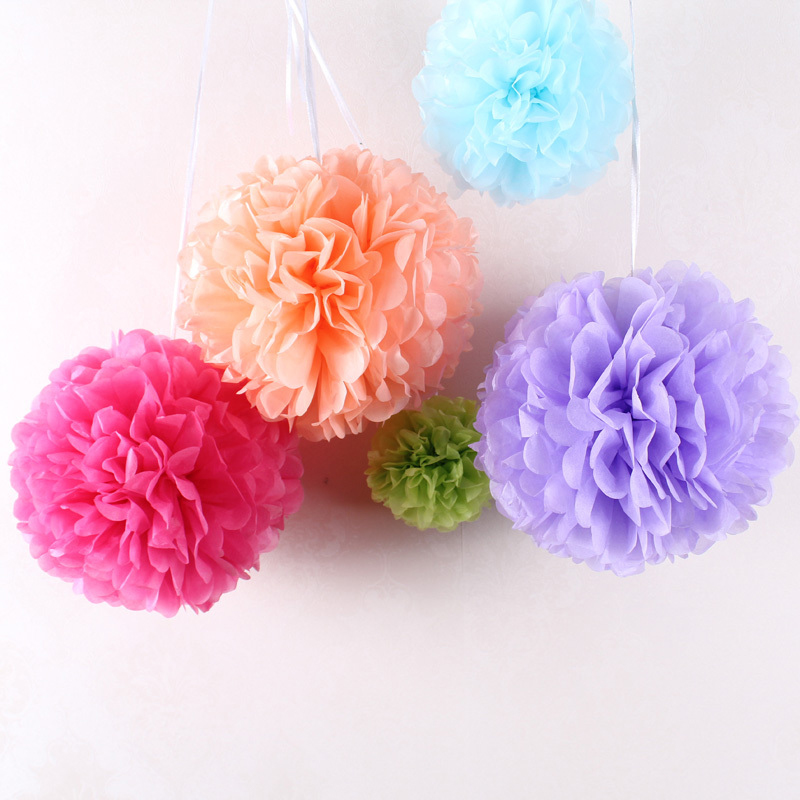 30pcs 6 8 10 ( 15cm 20cm 25cm ) decorative Tissue Paper Pom Poms Mix Color  Flower Balls Pompom Wedding party home Decoration b1131473218e