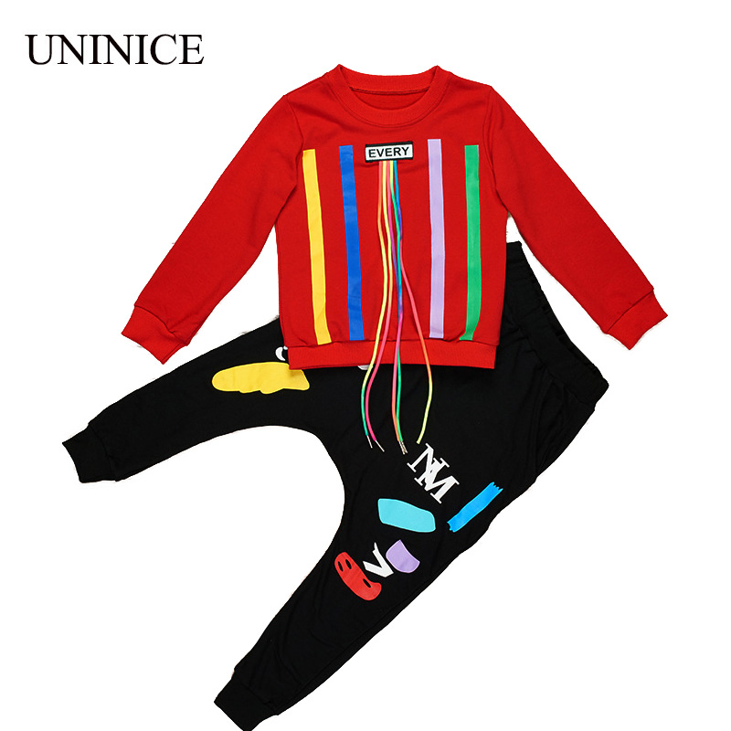UNINICE 2017 New Autumn Teenager Boys Letter Print Children Clothing Set Cotton Long Seeve Tracksuit For Boys Kids Clothes Sets