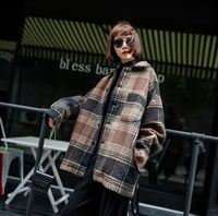 Long Sleeve Contrast Bold Plaid Brushed Shirt With Left Chest Pocket Slim-fit Comfortable Soft Work Casual Woolen Shirts Women