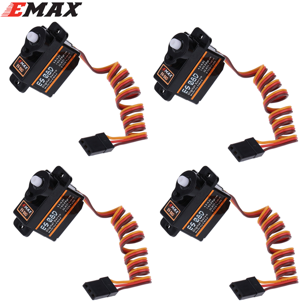 100% orginal 4 pcs/lot EMAX ES08D Plastic Digital Micro Servo for RC Helicopter Airplane RC Quadcopter register shipping jx pdi 5521mg 20kg high torque metal gear digital servo for rc model