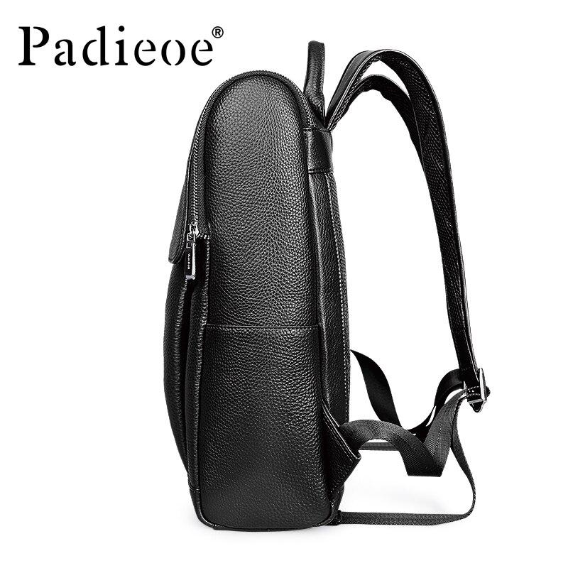 Daypack Echtem 2018 Padieoe Unisex Hohe Leder Black Schwarz 100 Qualität Tasche Solide Schule Frauen Männer Studenten Rucksack Rucksäcke x0cyw0aqB5