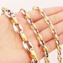Granny Chic Fashion 316L Stainless Steel Necklace 6.5~12mm Coffee Beans Link Chain Silver Gold Jewelry Men Women Gift