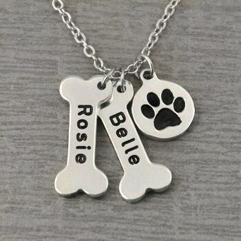 Personalized Dog Necklace,Bones and Paw Print Collar,Custom Bone Charm