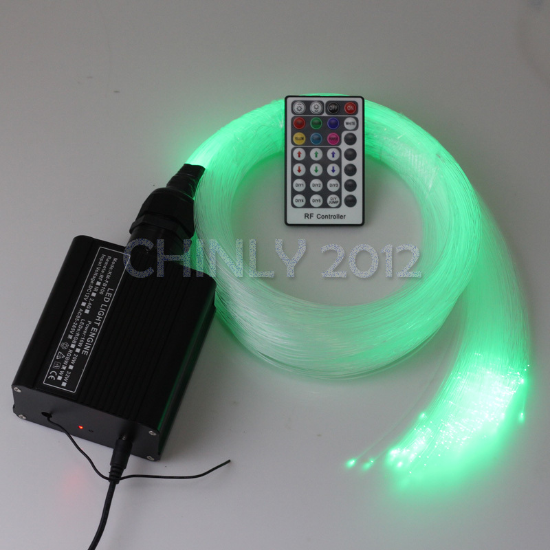 16W RGBW 28key RF remote LED Fiber Optic Star Ceiling Light Kit 300pcs 2M  0.75mm