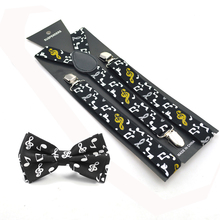 2017 New Women Men Unisex 13 Novelty Music Note Suspender and Bowtie Set Y-Shape Braces Butterfly Sets Office Casual Bowtie Set