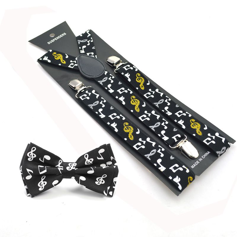 2020 New Women Men Unisex 13 Novelty Music Note Suspender And Bow Tie Set Y-Shape Braces Butterfly Sets Office Casual Bowtie Set