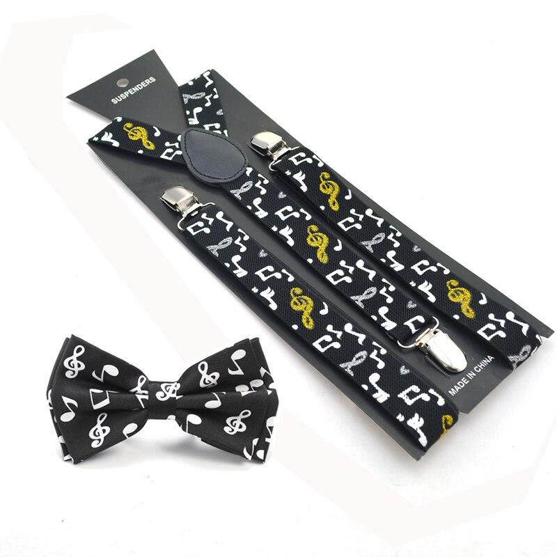 Women Men Unisex Music Note Shirt Suspender Bow Tie Set Y-Shape Braces Butterfly Sets Bowtie Suspender For Trousers Pants Holder