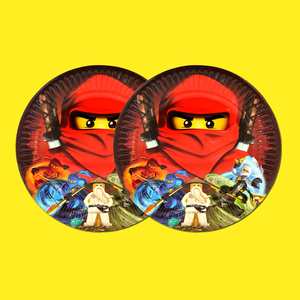 Image 5 - Party supplies 50pcs for 12kids New Ninjagoing theme birthday party decoration tableware set, plate+cup+straw+flag+tablecover