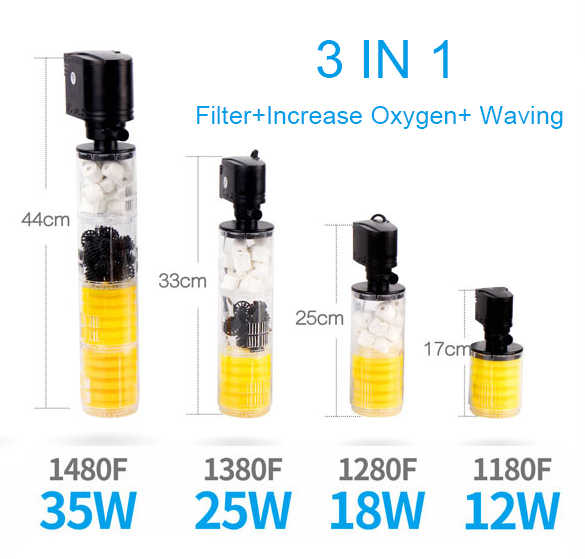 3 In 1 Aquarium Internal Filter Ikan Tangki Filter untuk Aquarium Pompa Udara Air Oksigen Meningkatkan Filter Akuarium Pompa Aquarium