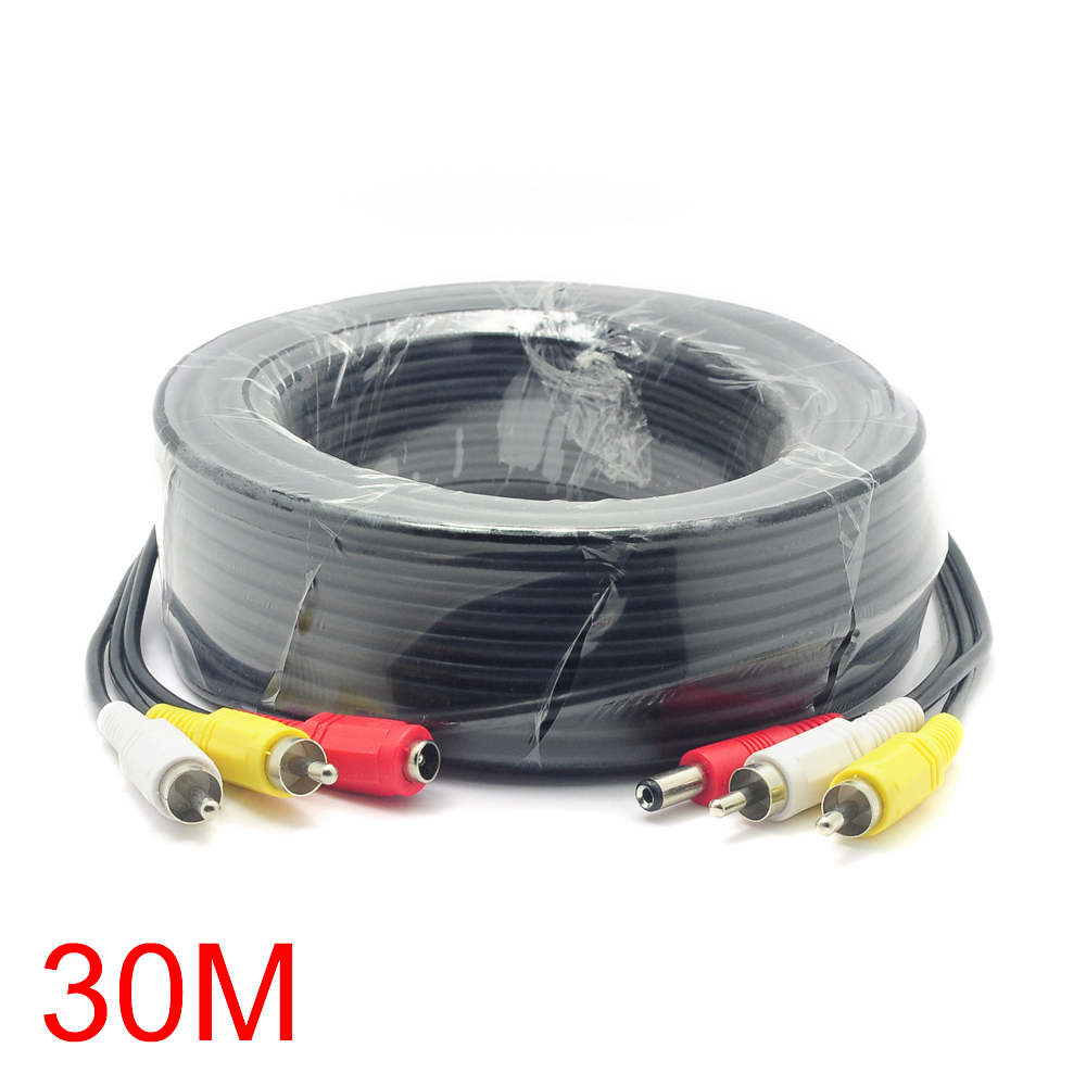 30M/98FT 2 RCA DC Connector Audio Video Power AV Cable All-In-One CCTV Wire