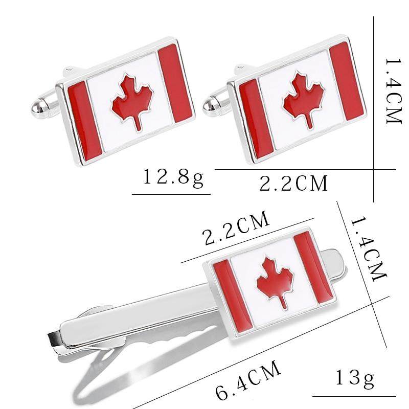 Tie Bar Canadian Flag Enamel Cufflinks