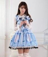 Lourie Princess Lolita Lace Print Blue The Cat Suspenders Spaghetti Strap Jsk One Piece Dress
