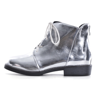 HEE GRAND 2019 Women Lace up Ankle Boots Silver Gold Boots Platform Shoes Woman Slip On Creepers Casual Flats XWX6224