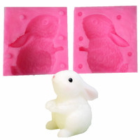 3D Kreskówka Królik Bunny Silikonowe Formy Ciasto Dekorowanie Formy Mydło Formy Świeca Mus Cukierki Galaretki Lody na patyku