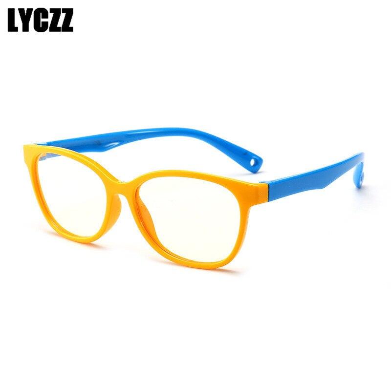 c6a14657c2 LYCZZ niños Anti-Luz Azul gafas de protección UV Marco chico chica de silicona  gafas de los niños suaves retro anteojos recetados