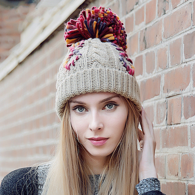 BomHCS Fashion Women's Winter Warm Crochet Beanie CONTRAST COLOR Stitching 100% Handmade Knitted Hat Cap bomhcs cute big flower beanie winter lady s warm crochet knitted hat 10
