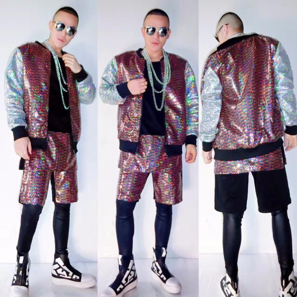 1cfd02f8eee 나이트 클럽 남성 가수 dj 댄서 무대 쇼 파티 힙합 야구 유니폼 남성 패션 그라데이션 스팽글