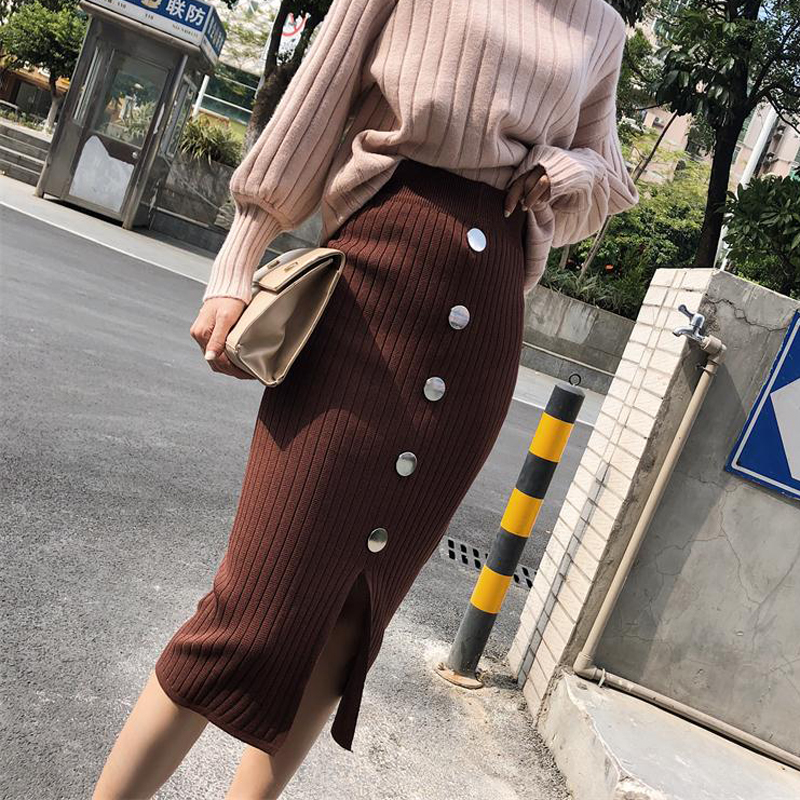 BGTEEVER Casual Elastic Waist Bodycon Knitted Women Skirt Single-breasted Front Split Midi Skirt Female Faldas Mujer Moda 2019