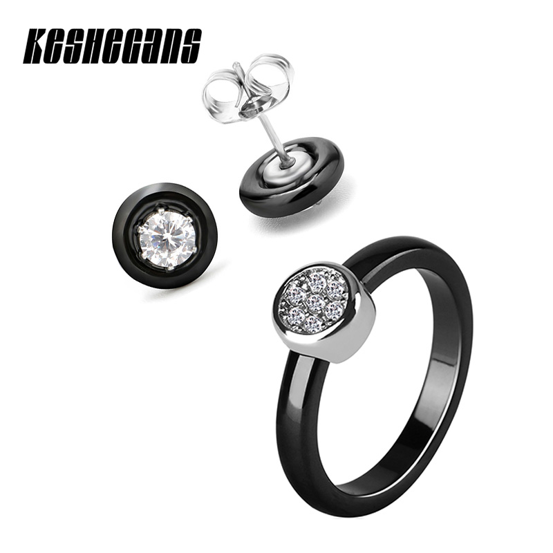 Simple Style Ceramic Jewelry Set Crystal Stud Earrings And 3mm Ring For Women Classic Black White Party Wedding Jewellery Gifts