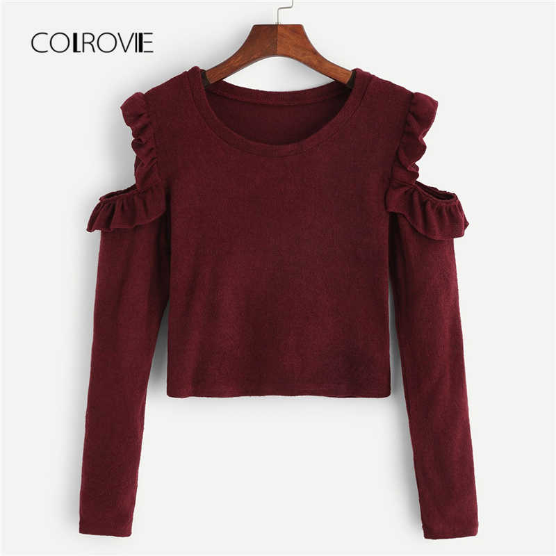 COLROVIE Burgundy Cold-Shoulder Frill Detail Korean Elegant Sweater 2018 Winter Fashion Casual Jumper Office Ladies Pullover
