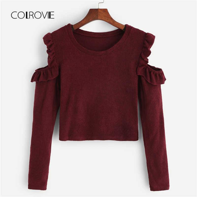 91ec26f22 COLROVIE Burgundy Cold-Shoulder Frill Detail Korean Elegant Sweater 2018  Winter Fashion Casual Jumper Office