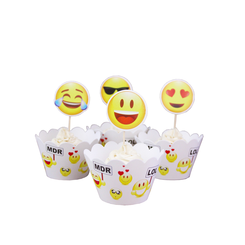 12pcs Wrappers 12 pcs Toppers Face Expression Paper Cupcake Wrappers Topper for Birthday Party Decorations Kids Cakecup Topper