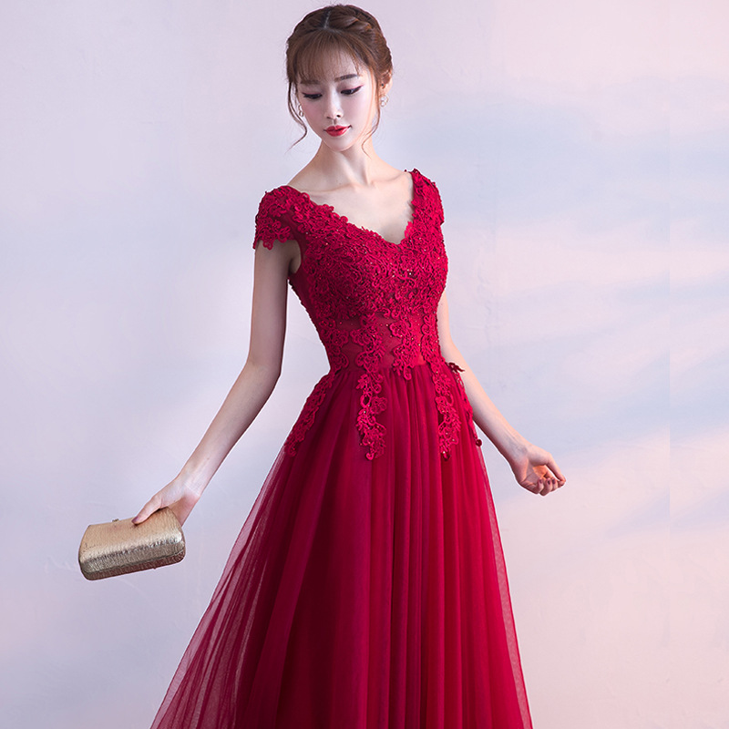 Prom     Dresses   Long New Arrival Burgundy Sexy Formal Party Gowns Elegant Sparkle Tulle Wedding Party Gown Tanssiaispuku