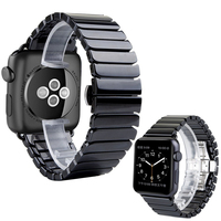 Black White Glossy Ceramic Watch Band Strap For Apple Watch Watch 38 42mm Link Bracelet Butterfly