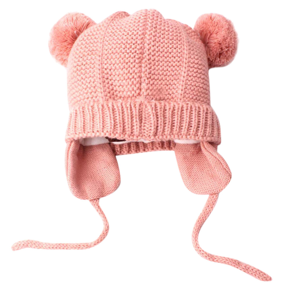 Baby Winter Hat Fur Pompom Caps bonnet Toddler Boys Girls Knitted Cap Cotton Protect The Ears Hats Warm Kids Beanie #5L new winter beanies solid color hat unisex warm grid outdoor beanie knitted cap hats knitted gorro caps for men women page 2