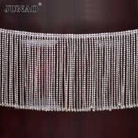JUNAO 45 cm/lot paillettes verre clair Strass garniture gland frange métal Strass chaîne ruban cristal Applique baguage pour artisanat