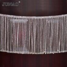 JUNAO 45 cm/lot גליטר ברור זכוכית ריינסטון שרשרת מתכת שוליים ציצית Strass לקצץ גביש סרט בגדי Applique